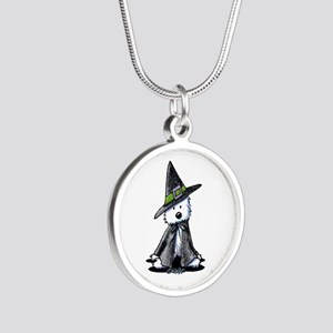 Witchy Westie Silver Round Necklace