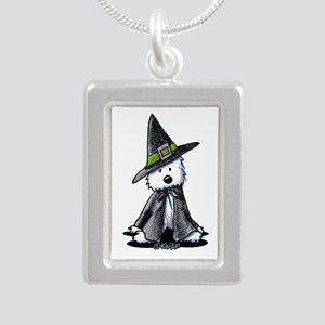 Witchy Westie Silver Portrait Necklace