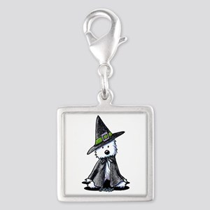 Witchy Westie Silver Square Charm