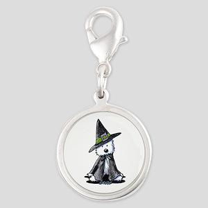 Witchy Westie Silver Round Charm