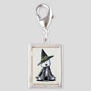 Witchy Westie Silver Portrait Charm