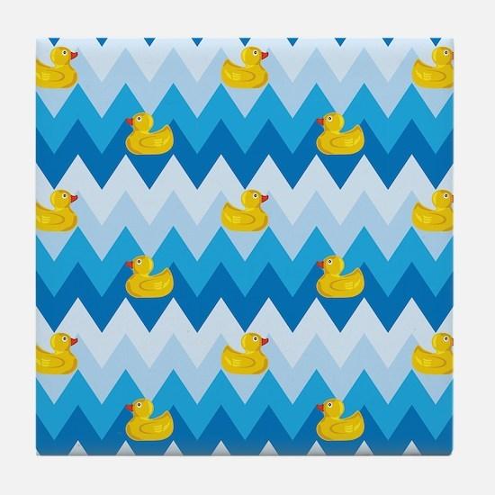 Just Ducky Chevron Pattern Tile Coaster