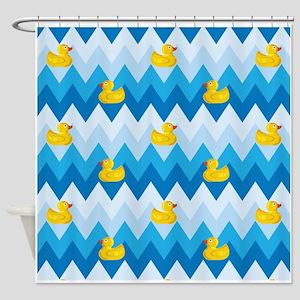 Just Ducky Chevron Pattern Shower Curtain