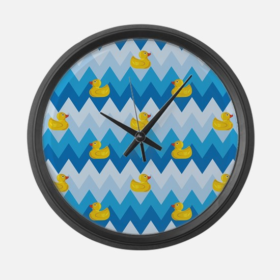 Just Ducky Chevron Pattern Large Wall Clock
