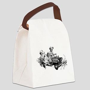 Dalmatians in a Fire truck Canvas Lunch Bag