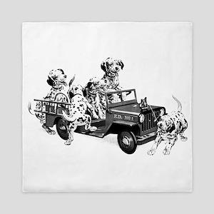 Dalmatians In A Fire Truck Queen Duvet