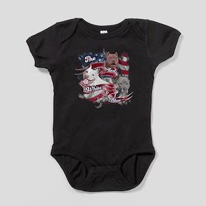 The Red, White, Blue Pitbull Dog Baby Bodysuit