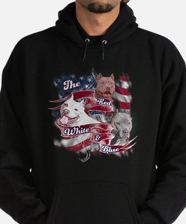 The Red, White, Blue Pitbull Dog Hoodie (dark)