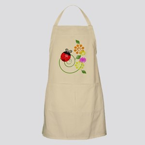 Cute Red Ladybug Icon With Flowers Apron