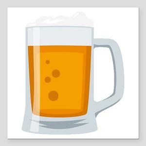 "Beer Mug Emoji Square Car Magnet 3"" x 3"""