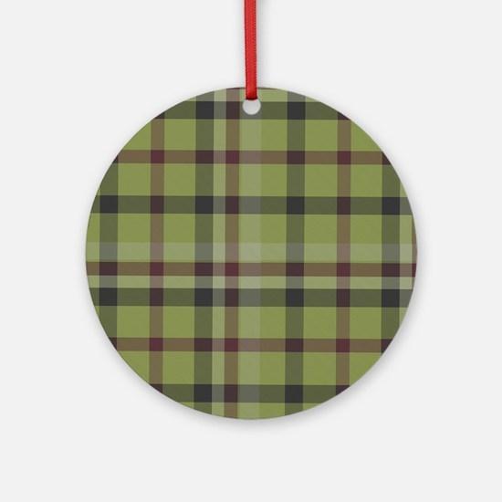 Olive Green Plaid Kilt Tartan Print Round Ornament