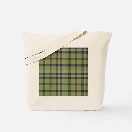 Olive Green Plaid Kilt Tartan Print Tote Bag