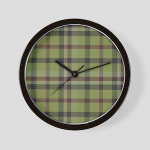 Olive Green Plaid Kilt Tartan Print Wall Clock