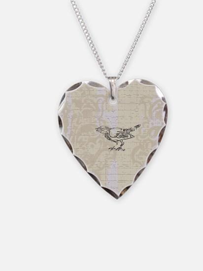 Little Bird On Cream Damask Necklace