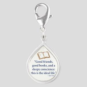 Good Friends, Good Books - Silver Teardrop Charm