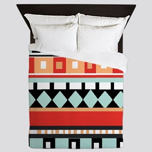 Geometric - Adobe, Turquoise and Brown Queen Duvet