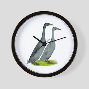 Runner Ducks Blue Wall Clock