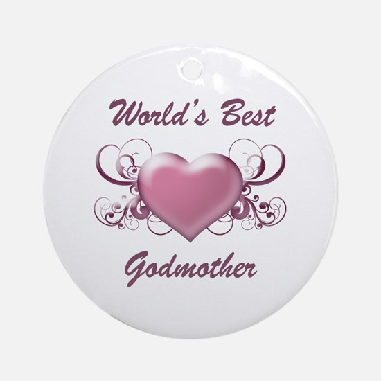 World's Best Godmother (Heart) Ornament (Round)