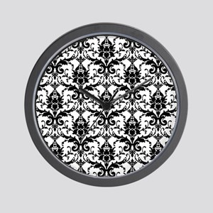 Black White Damask Wall Clock