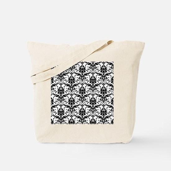 Black and White Damask Tote Bag