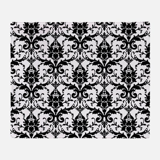 Black and White Damask Throw Blanket
