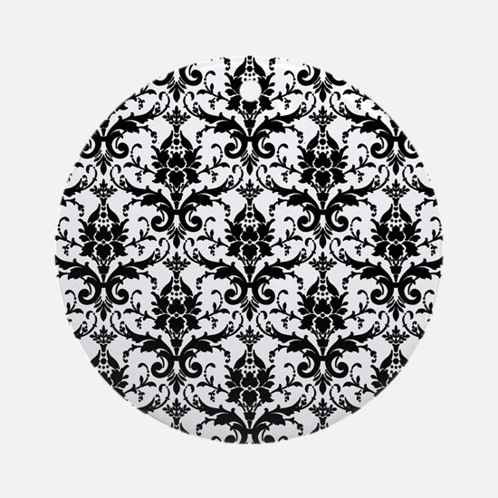 Black and White Damask Round Ornament