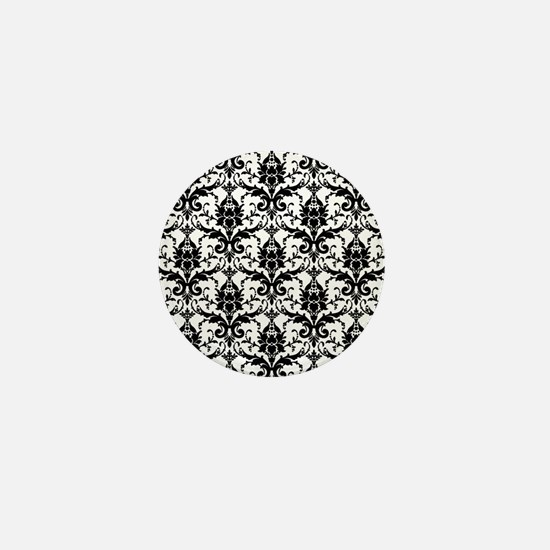 Black and White Damask Mini Button