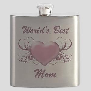 World's Best Mom (Heart) Flask
