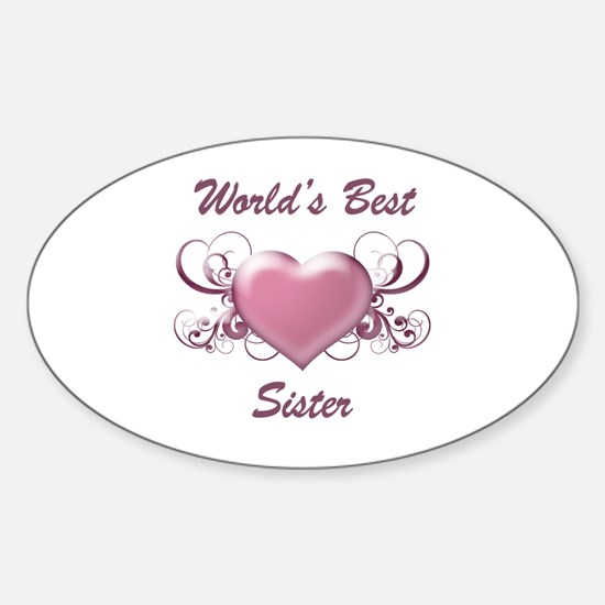 World's Best Sister (Heart) Sticker (Oval)