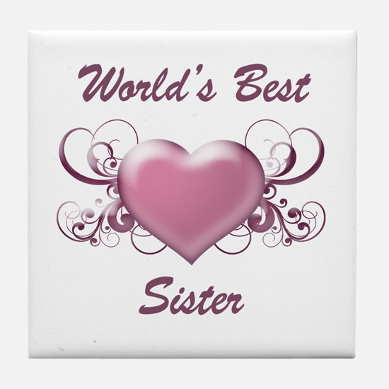 World's Best Sister (Heart) Tile Coaster