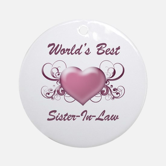 World's Best Sister-In-Law (Heart) Ornament (Round