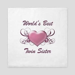 World's Best Twin Sister (Heart) Queen Duvet