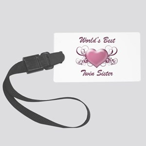 World's Best Twin Sister (Heart) Large Luggage Tag