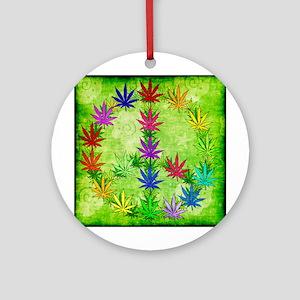 Rainbow Peace Marijuana Leaf Art Ornament (Round)