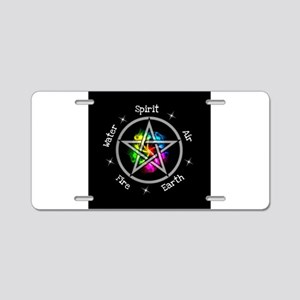 Pagan Wiccan Elemental pent Aluminum License Plate
