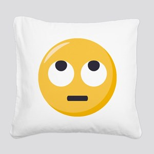 Face with rolling eyes Emoji Square Canvas Pillow