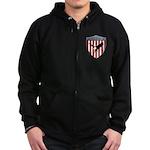 U S A Metallic Shield Zip Hoodie