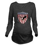 U S A Metallic Shield Long Sleeve Maternity T-Shir