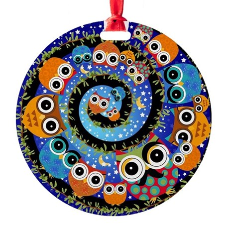 Starry Night Owls Spiral Moon Whimi Round Ornament