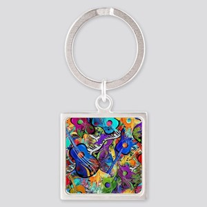 Colorful Painted Guitars Curvy Pia Square Keychain