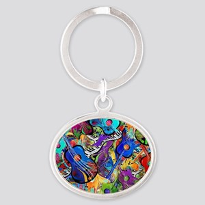 Colorful Painted Guitars Curvy Piano Oval Keychain