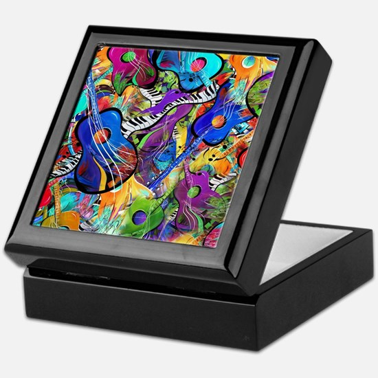 Colorful Painted Guitars Curvy Piano  Keepsake Box