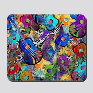 Colorful Painted Guitars Curvy Piano Mus Mousepad