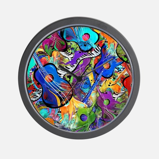 Colorful Painted Guitars Curvy Piano Mu Wall Clock