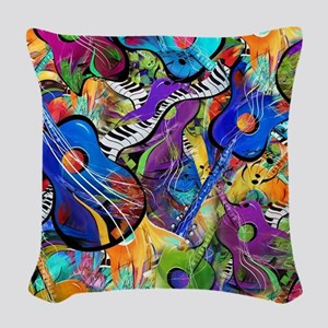 Colorful Painted Guitars Curvy Woven Throw Pillow