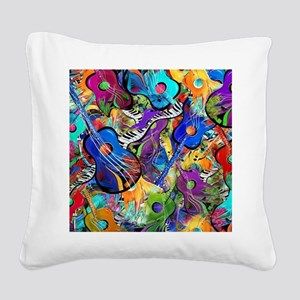 Colorful Painted Guitars Curv Square Canvas Pillow