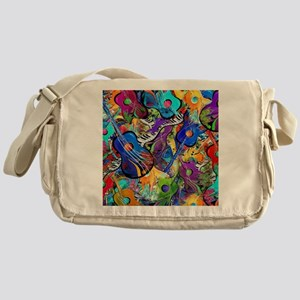Colorful Painted Guitars Curvy Piano Messenger Bag