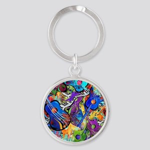 Colorful Painted Guitars Curvy Pian Round Keychain
