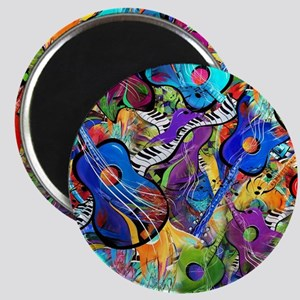 Colorful Painted Guitars Curvy Piano Music  Magnet