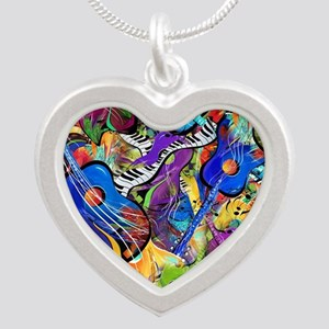 Colorful Painted Guitars Cur Silver Heart Necklace